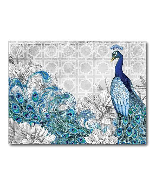 Gray peacock i canvas wall art for Peacock wall art