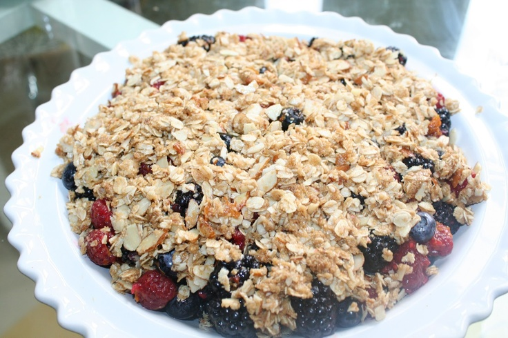 Guilt-Free Triple Berry Crisp with Cardamom Custard | Eat, Drink and ...