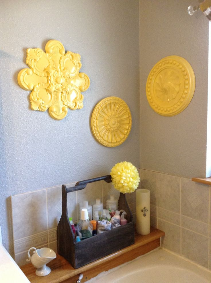 Yellow and grey bathroom yellow gray pinterest for Bathroom yellow and gray