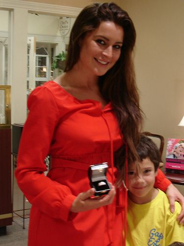 Elissa Reilly with her son. Elissa is holding her fiance's custom