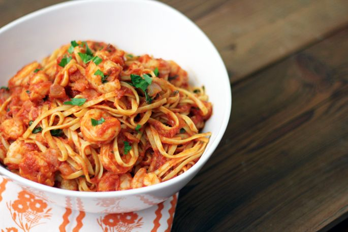 Shrimp Fra Diavolo—shrimp poached is spicy and a bit sweet marinara ...
