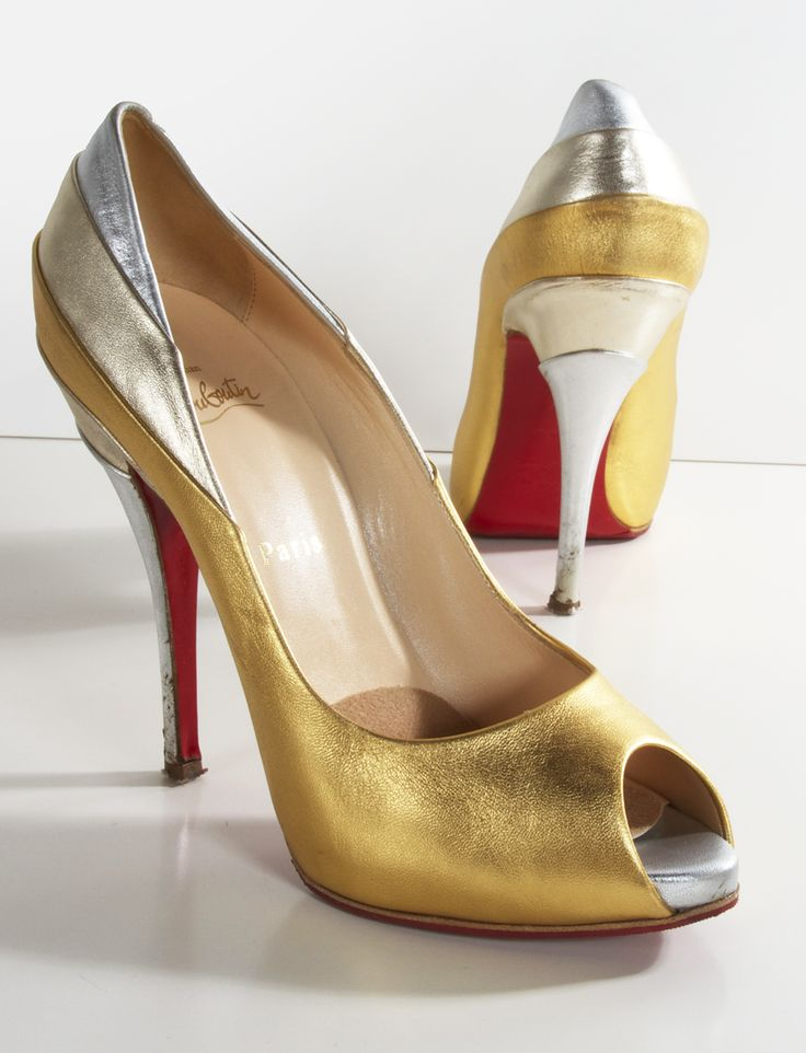 Gold and red heels