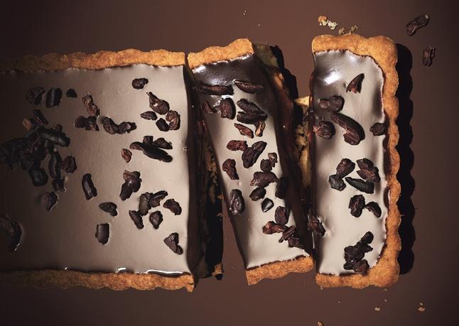 Milk Chocolate-Caramel Tart with Hazelnuts and Espresso