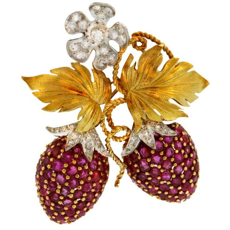 Ruby & Diamond Gold Double-Strawberry Pin