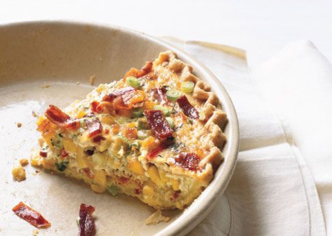 Corn and Bacon Pie- country style quiche with a cornmeal crust