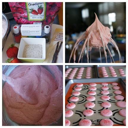 Gourmet by Kat: Strawberry macarons with vanilla bean buttercream