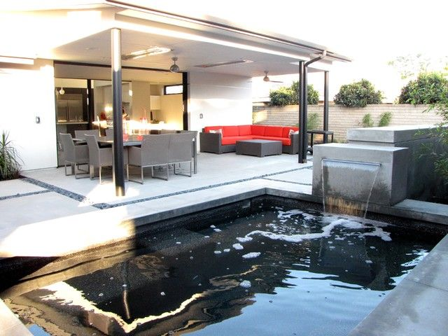 ... Modern Furniture At Terrace With Natural Pool Also Orange Sofa Patio