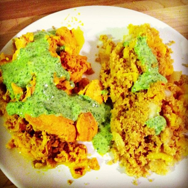 ... couscous with citrus cauliflower and onion, and cilantro yogurt sauce