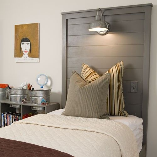 Inspiration for little boys room. Love the light, the switch by the bed, the pillows and the cubby with the buckets on top.