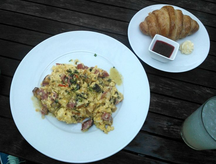 Migas from Tiny Boxwoods: eggs scrambled with cheese, sausage ...