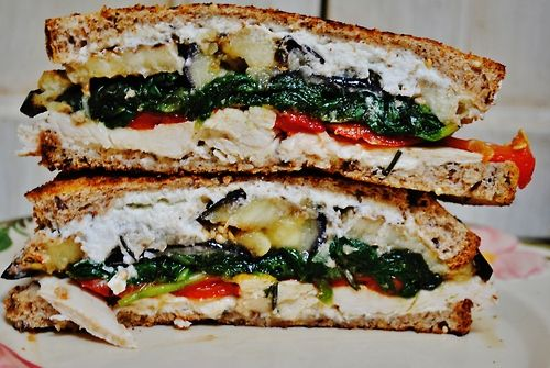 roasted vegetable chicken goat cheese and basil pesto sandwiches for ...