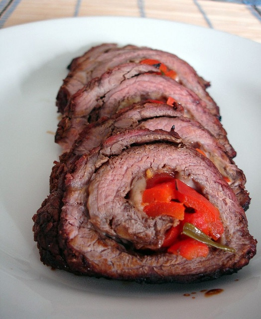 Rolled flank steak - added some cheese to make it less dry but it was ...