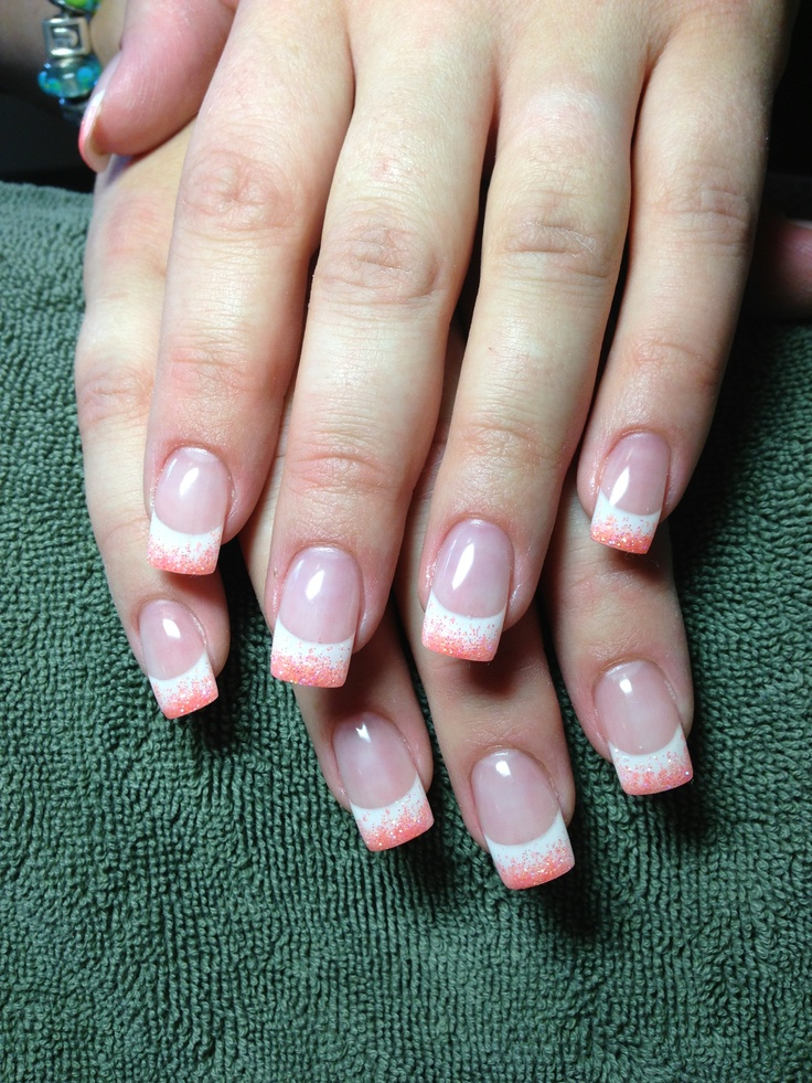 French and coral glitter gel nails | Nail inspiration | Pinterest