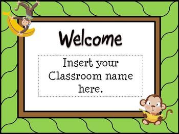 00 back to school open house powerpoint template monkey theme