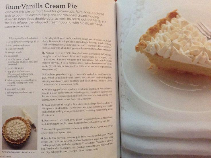 Rum Vanilla cream pie from Martha Stewart's Pies & Tarts