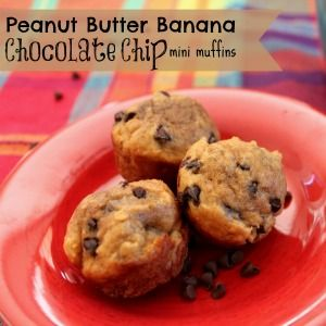 Peanut Butter Banana Chocolate Chip Mini Muffins - Pandora's Deals