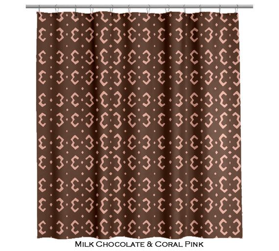 Tribal Shower Curtain Chocolate Brown And White Several Colors Avai