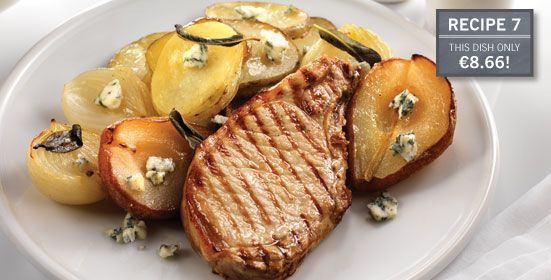 Pan-Fried Pork Chops with Gorgonzola & Roasted Pears (grams)