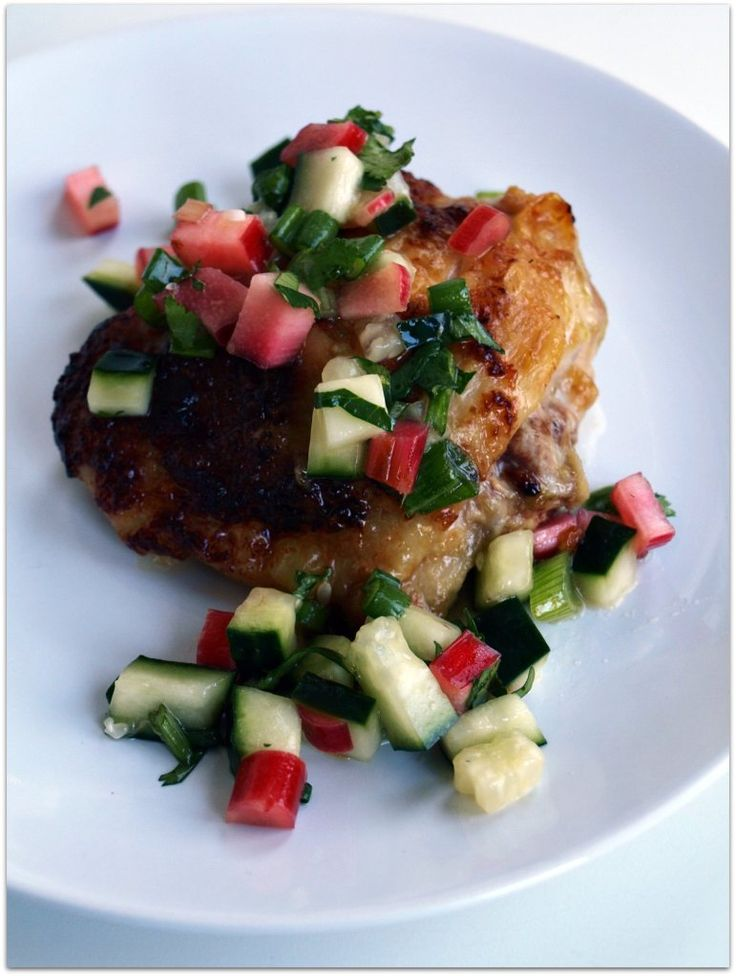 Spicy chicken with rhubarb cucumber salsa (from another of my favorite ...