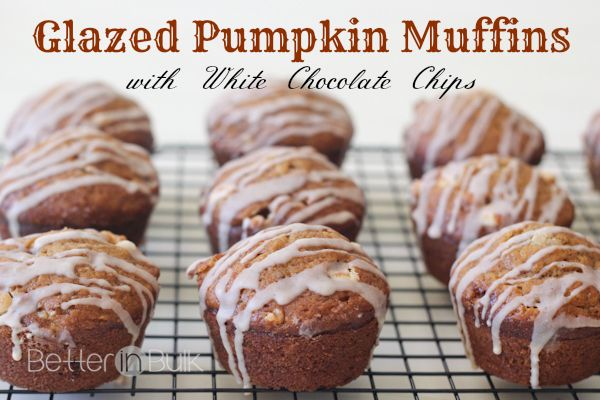 Glazed Pumpkin Muffins with White Chocolate Chips - Better in ...
