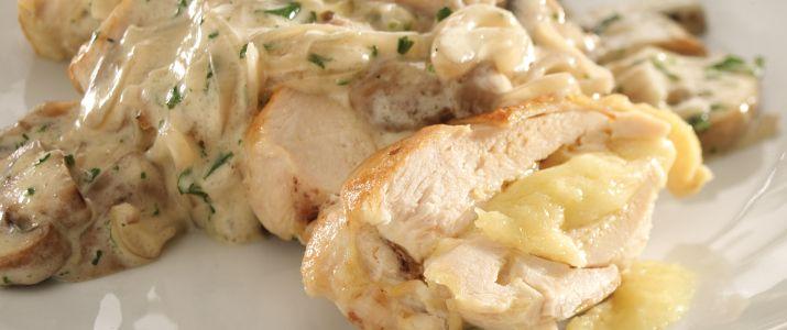Gruyere Stuffed Chicken with White Wine Mushroom Sauce. 4 boneless ...