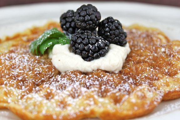 Cinnamon Sugar Waffles with Honey Whipped Cream and Fresh Blackberries