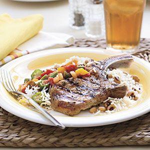 Grilled Basil-and-Garlic Pork Chops | MyRecipes.com