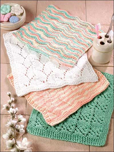 Knitted Wash Clothes Free Patterns : Face Cloth Quartet - knitting patterns Free Wash Cloth Patterns P?