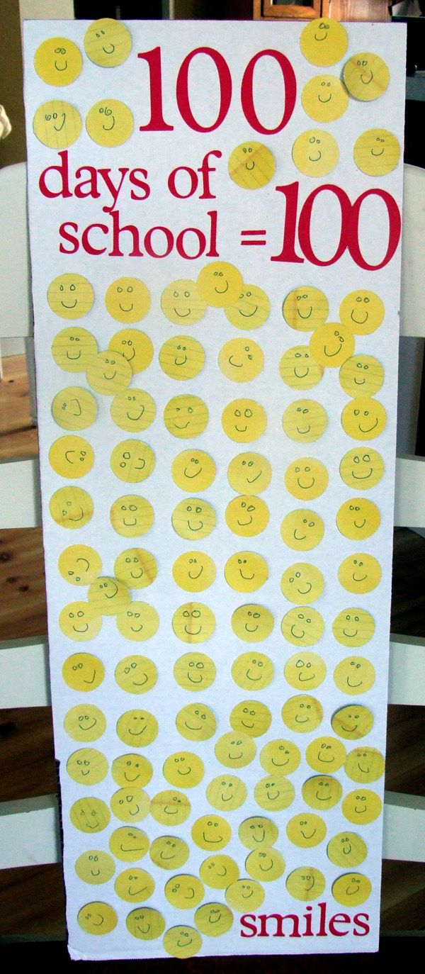 Poster board, circle punch, a marker or pen, and Poster Glue Dots create this 100 Days of School display!