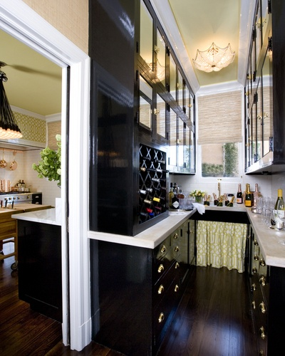 black lacquered cabinets and polished brass hardware would be so cool in a bar
