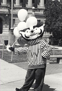 Bucky Badger, c. 1989. On, Wisconsin!