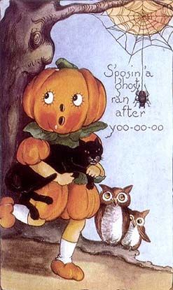 Pumpkin Girl Post card