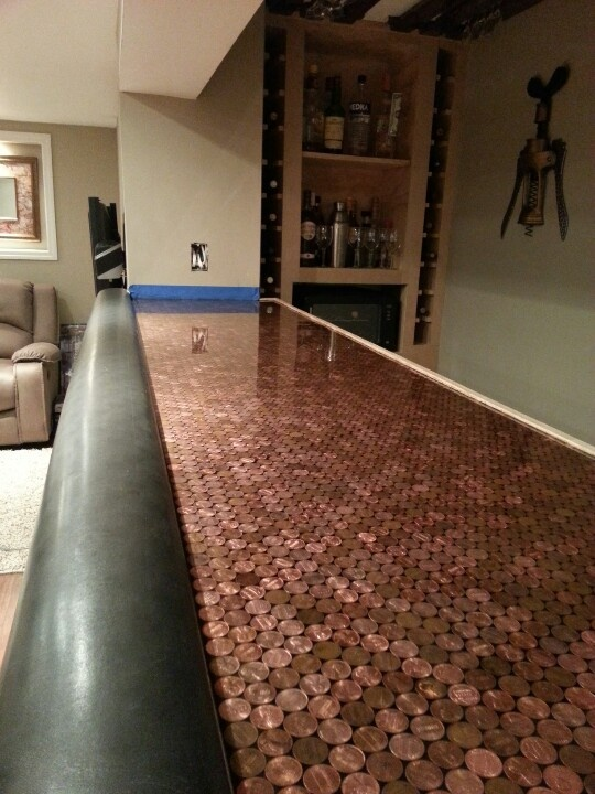 Interesting Play On The Copper Bar Top Bars Pinterest