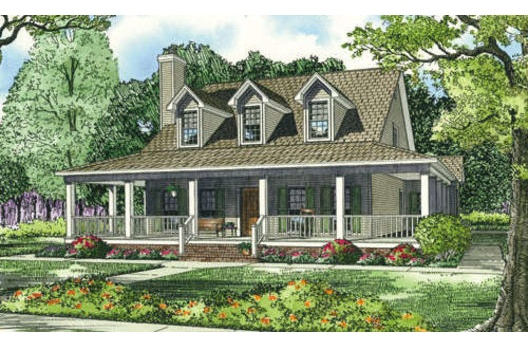 Single story farmhouse dream home pinterest for Single story farmhouse plans with wrap around porch