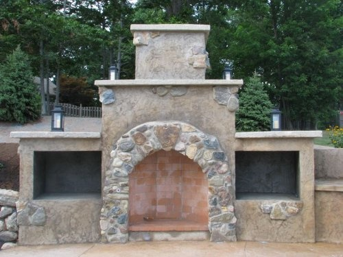 Natural Stone Stucco Fireplace Outdoors Pinterest