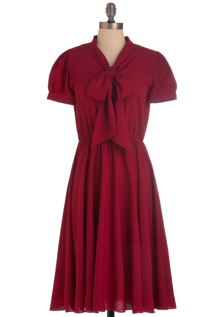 Event Planner Dress - Long, Red, Solid, Shirt Dress, Short Sleeves, Fall, Work, Tie Blouse