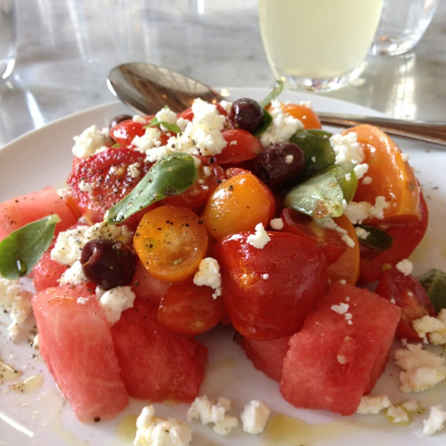 heirloom tomatoes, watermelon, french feta cheese, and olive salad