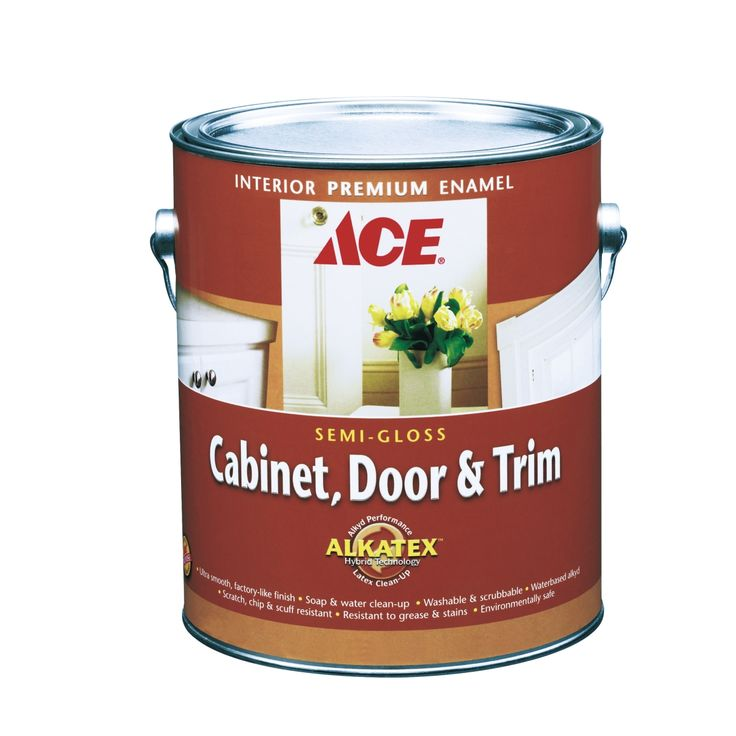 Ace cabinet door trim semi gloss alkyd enamel paint for Gloss paint for trim