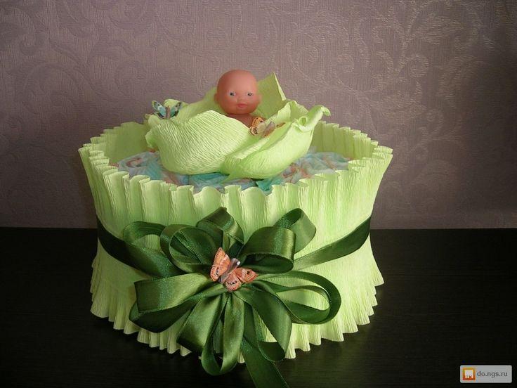 Торт из памперсов для девочки своими руками пошагово маленький фото 48