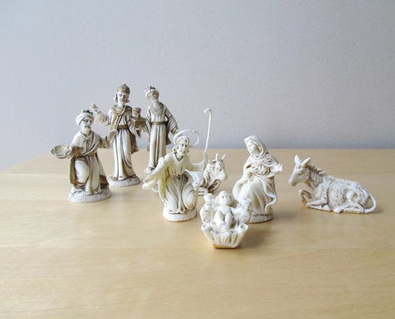 White and gold vintage nativity set made in italy on etsy 12 00