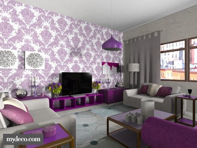 Purple and grey living room other bedrooms pinterest Grey and purple living room