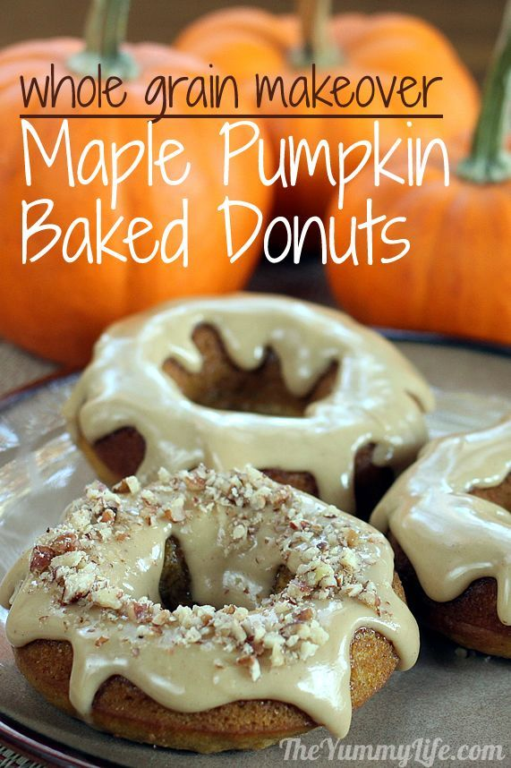 Whole Grain, Low Fat Maple Pumpkin Spice Baked Donuts (& Muffins ...