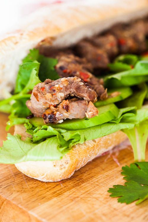 Lemongrass beef skewers in baguettes | Beef & Lamb | Pinterest