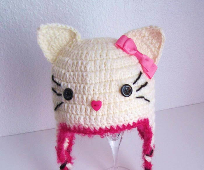 Crochet Cat Hat : Cute Cat Crochet Earflap Baby Hat - In