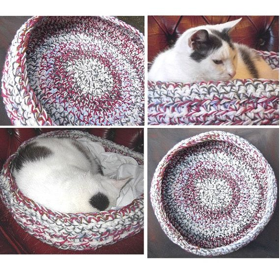 Crochet Patterns Pet Beds : Crochet Pet Basket Pattern PDF Chunky Cat Dog Bed by beaknitting, $5 ...