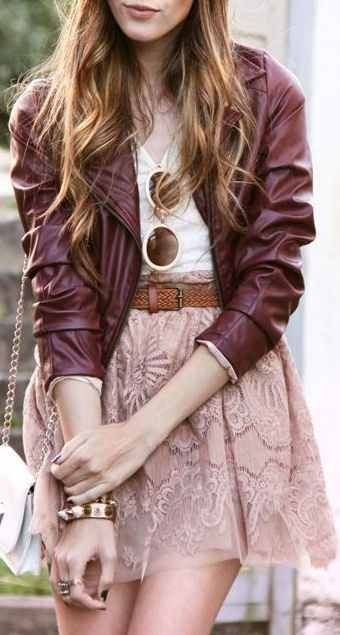 Maroon leather jacket, belted light pink lace skirt