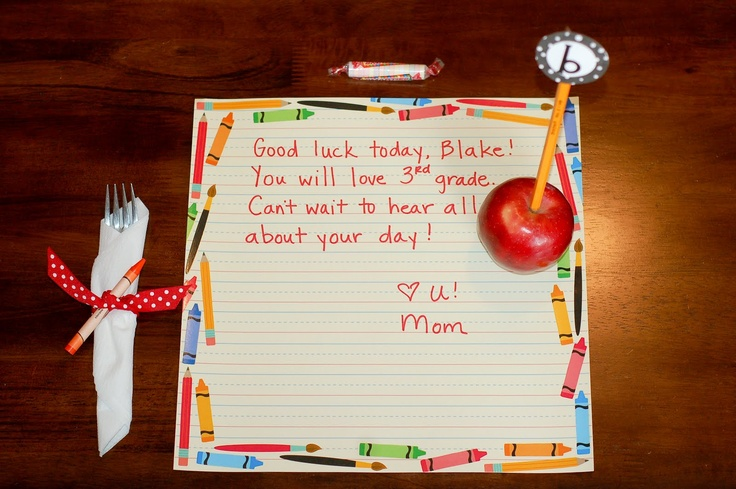 First day of school breakfast. What a cute way to give them their note. As a placemat on scrapbook paper!