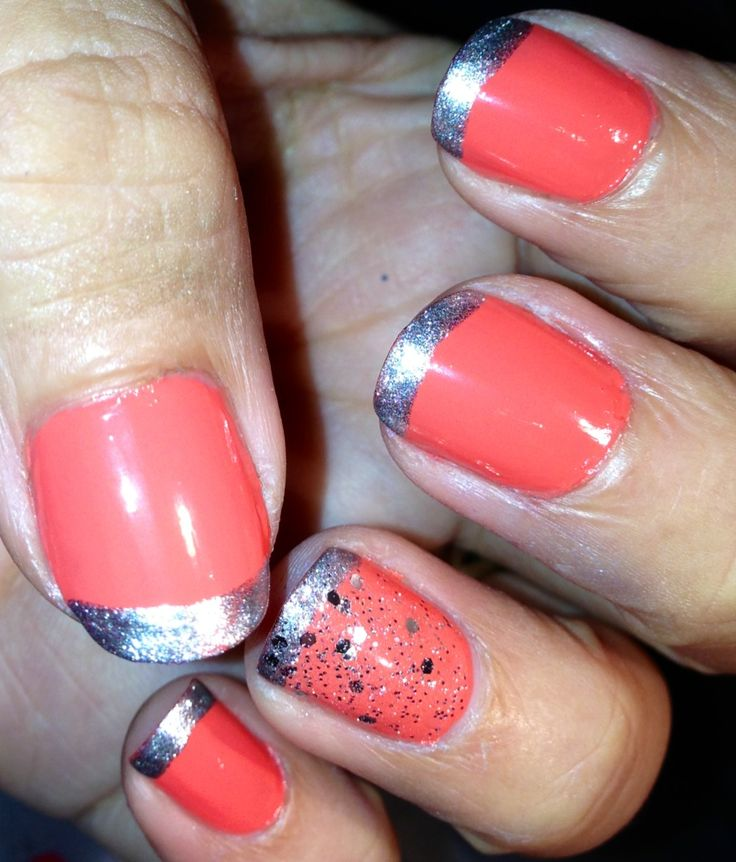 Coral nail art | nails | Pinterest