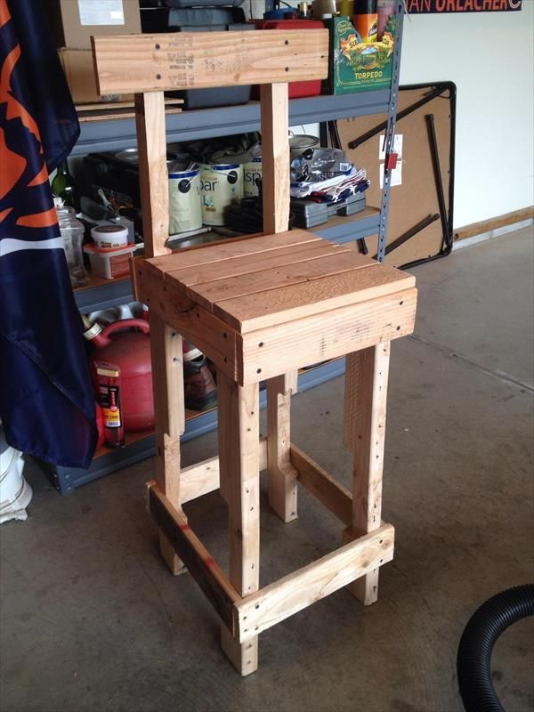 Diy rustic pallet stool chair pallets dining pinterest for Stools made from pallets