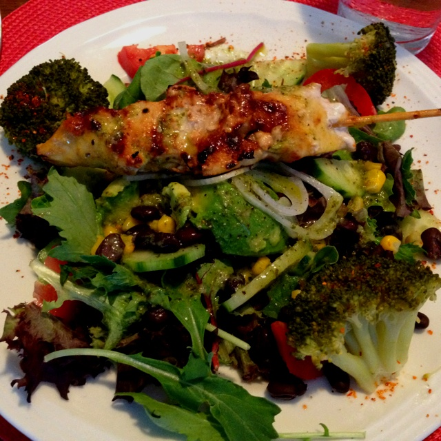 ... chili lime chicken with salad and chimichuri garlic lime vinaigrette